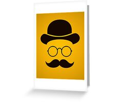 Retro /Minimal vintage face with Moustache & Glasses Greeting Card