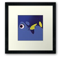 Blue ornamental fish cartoons Framed Print