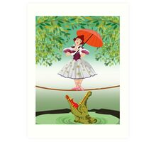 Cute halloween The crocodile girl Deadly circus Art Print