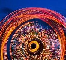 Ferris Wheel Long Exposure at Twilight by Kenneth Keifer