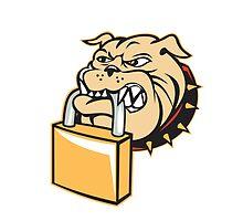 Bulldog Dog Mongrel Head Padlock Retro by patrimonio
