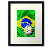 Brazil Flag Gold Green and Soccer Ball Framed Print