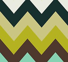 Zigzag (Chevron), Stripes - Brown Green Blue by sitnica