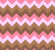 Zigzag (Chevron), Stripes, Lines - Brown Pink by sitnica