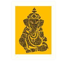 Ink Rain Ganesha Art Print