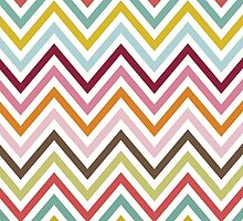 Zigzag (Chevron), Stripes, Lines - Green Blue Pink by sitnica