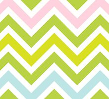 Zigzag (Chevron), Stripes, Lines - Green Pink Blue by sitnica