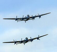 2 Lancasters in Formation by Colin Smedley