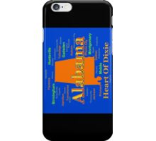 Colorful Alabama State Pride Map Silhouette  iPhone Case/Skin