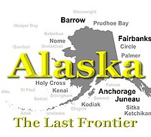 Alaska State Pride Map Silhouette  by KWJphotoart