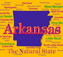 Colorful Arkansas State Pride Map Silhouette  by KWJphotoart