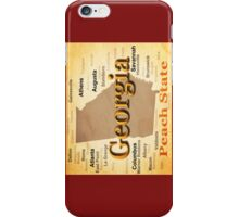 Aged Georgia State Pride Map Silhouette  iPhone Case/Skin
