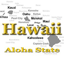 Hawaii State Pride Map Silhouette  by KWJphotoart