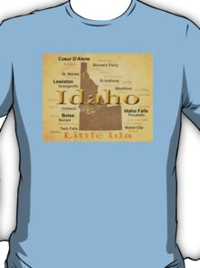 Aged Idaho State Pride Map T-Shirt