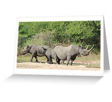 Black Rhino - Family of Horns Greeting Card