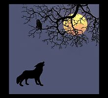 The Owl, The Wolf and the Moon... by Qnita