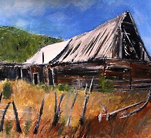 Old Barn New Mexico Desert Contemporary Acrylic Painting by JamesPeart