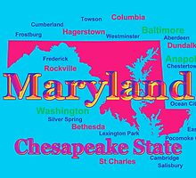 Colorful Maryland State Pride Map Silhouette  by KWJphotoart