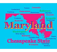 Colorful Maryland State Pride Map Silhouette  Photographic Print