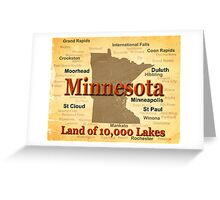 Aged Minnesota State Pride Map Greeting Card
