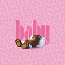 Sleeping Ted - Baby Pink by ifourdezign
