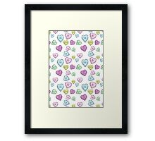 Soft Grunge Hearts Framed Print
