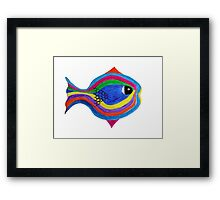 Multicolor acrylic painting of a fish Framed Print