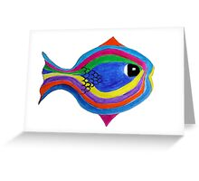 Multicolor acrylic painting of a fish Greeting Card