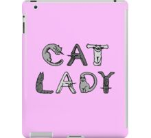 Cat Lady - Cat Letters - Grey iPad Case/Skin