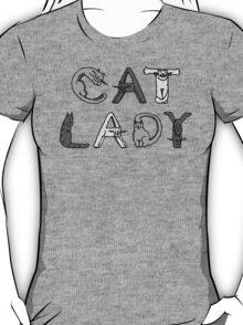 Cat Lady - Cat Letters - Grey T-Shirt