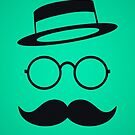 Retro / Minimal vintage face with Moustache & Glasses by badbugs