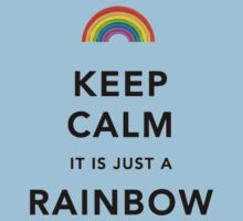 Keep Calm Rainbow on white Kids Clothes