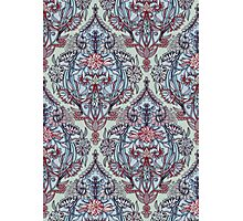 Botanical Moroccan Doodle Pattern in Navy Blue, Red & Grey Photographic Print