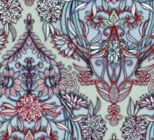 Botanical Moroccan Doodle Pattern in Navy Blue, Red & Grey Sticker