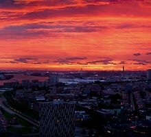Rotterdam Sunset Panorama, from Euromast by George Row