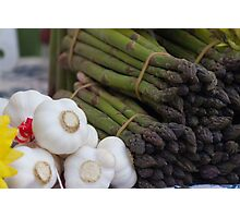 asparagus and onions Photographic Print