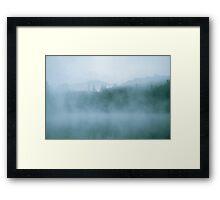 Lost In Fog Over Lake Framed Print