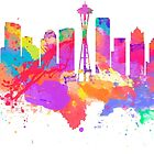 Watercolor art print of the skyline of Seattle United States by chris2766
