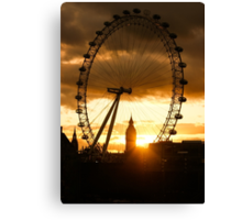 Framing the Sunset in London - the London Eye and Big Ben  Canvas Print