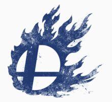 Super Smash Bros Wii U / Nintendo 3DS Flaming Symbol - Splatter Blue by youddit
