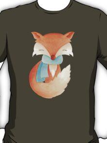 Cute fox cub whimsical winter watercolor art T-Shirt