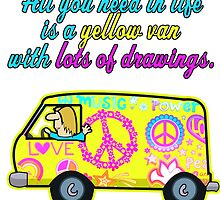 All You Need In Life Is A Yellow Van With Lots Of Drawings by papabuju