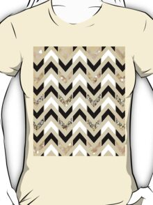 Black, White & Gold Glitter Herringbone Chevron on Nude Cream T-Shirt