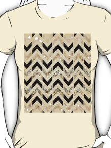 Black & Gold Glitter Herringbone Chevron on Nude Cream T-Shirt