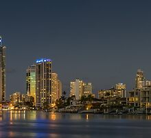 Surfers Paradise, Gold Coast at night by Ann Pinnock