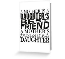Mother & Daughter Typographic Quote Greeting Card