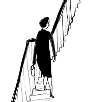Vintage lady and stairs by Helena Bergendahl