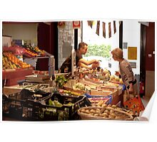 Shopping for Vegetables at the Covered Market in Vannes France Poster