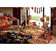 Shopping for Vegetables at the Covered Market in Vannes France Photographic Print