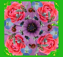 Flowers and Bugs Nature Photo Collage by mabelmakesamess